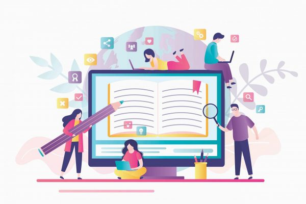E-learning banner. Online education, home schooling. Display with open textbook. Group of various students learning. Web courses, tutorials. Education technology concept. Vector illustration